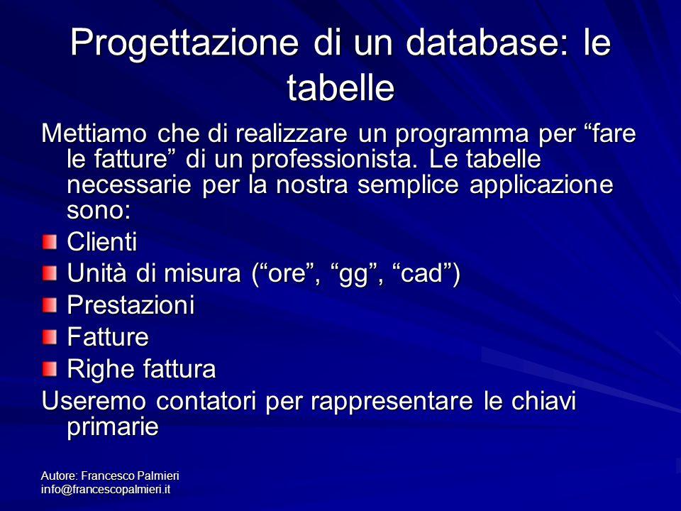 Progettazione di un database: le tabelle