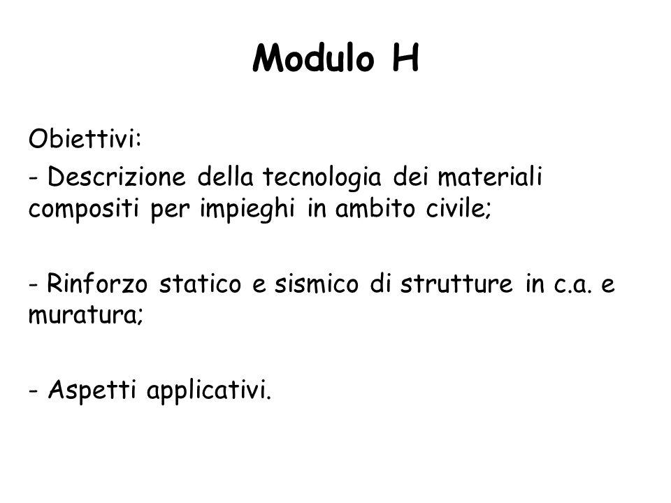 Modulo H Obiettivi: Descrizione della tecnologia dei materiali compositi per impieghi in ambito civile;