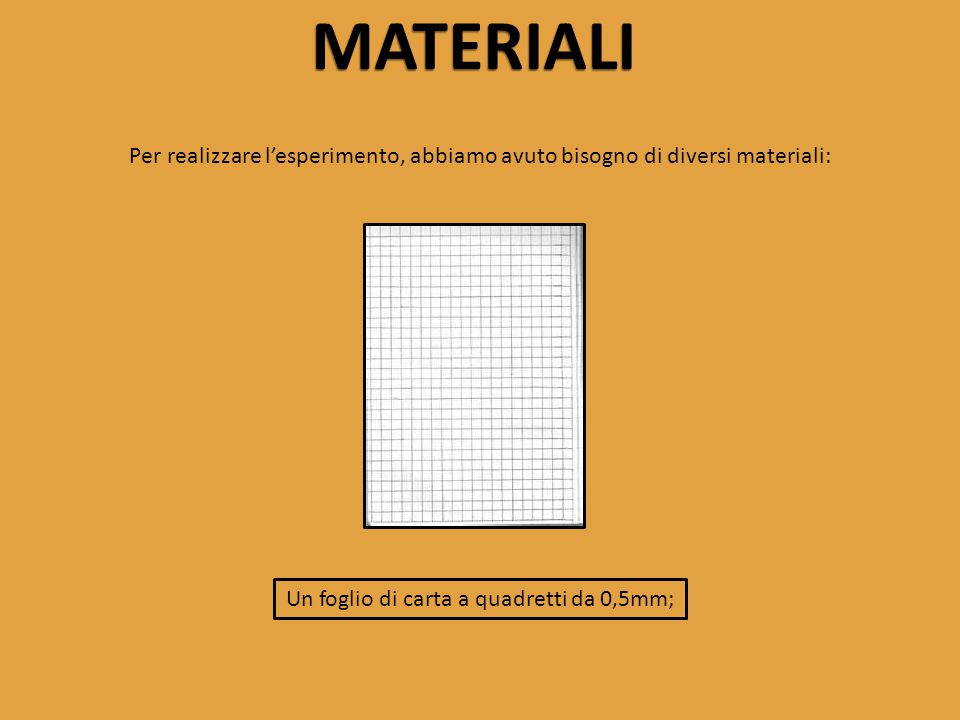 Un foglio di carta a quadretti da 0,5mm;