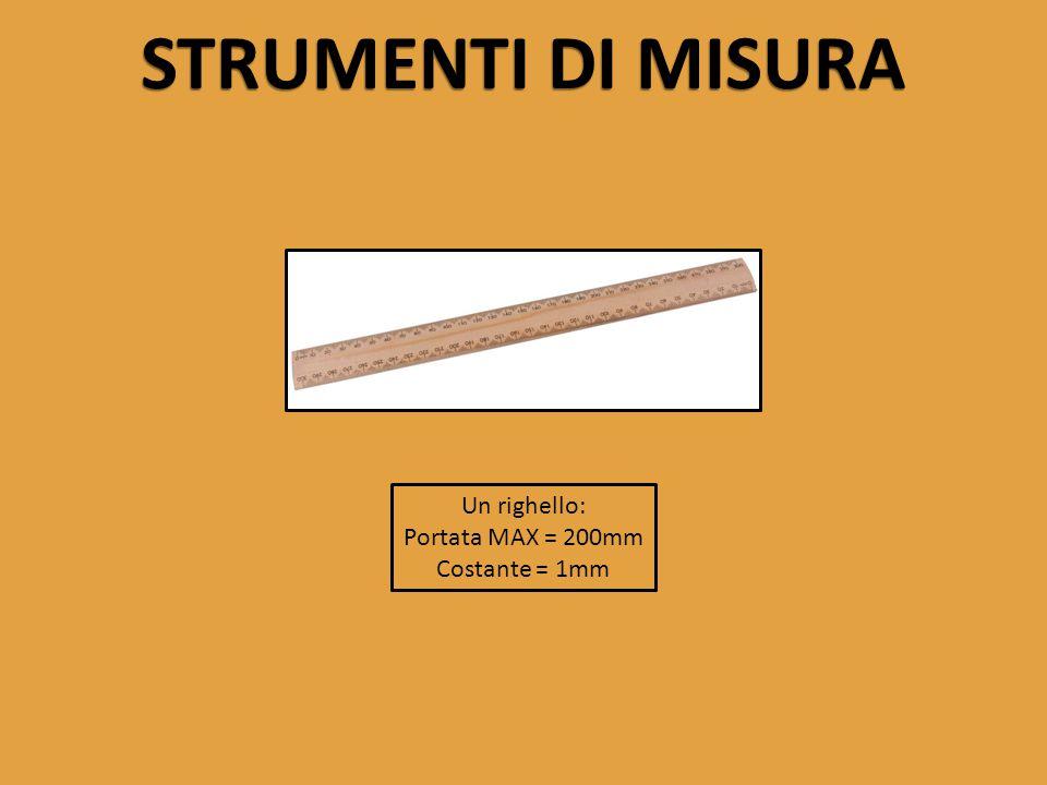 STRUMENTI DI MISURA Un righello: Portata MAX = 200mm Costante = 1mm
