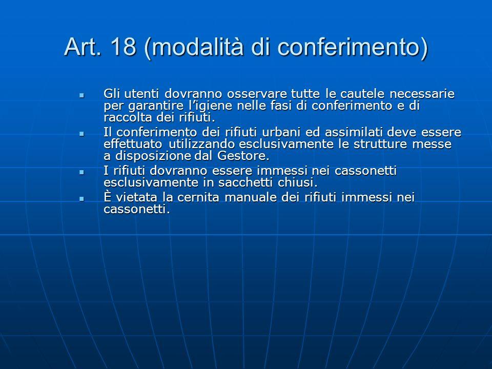 Art. 18 (modalità di conferimento)