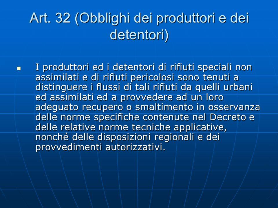 Art. 32 (Obblighi dei produttori e dei detentori)