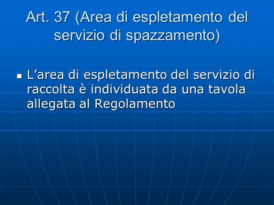 Art. 37 (Area di espletamento del servizio di spazzamento)