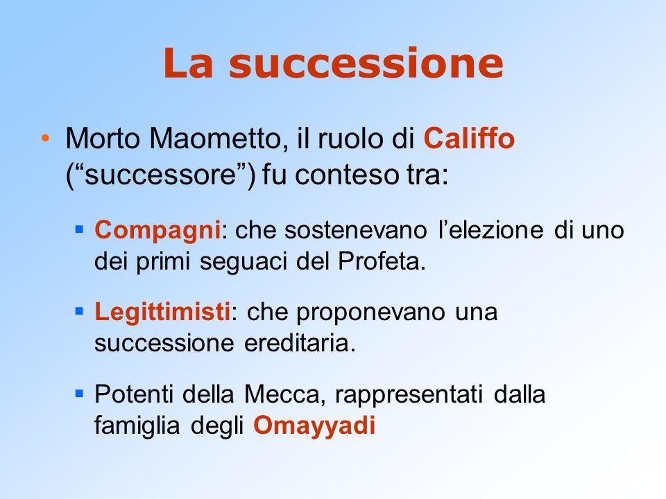 La successione Morto Maometto, il ruolo di Califfo ( successore ) fu conteso tra: