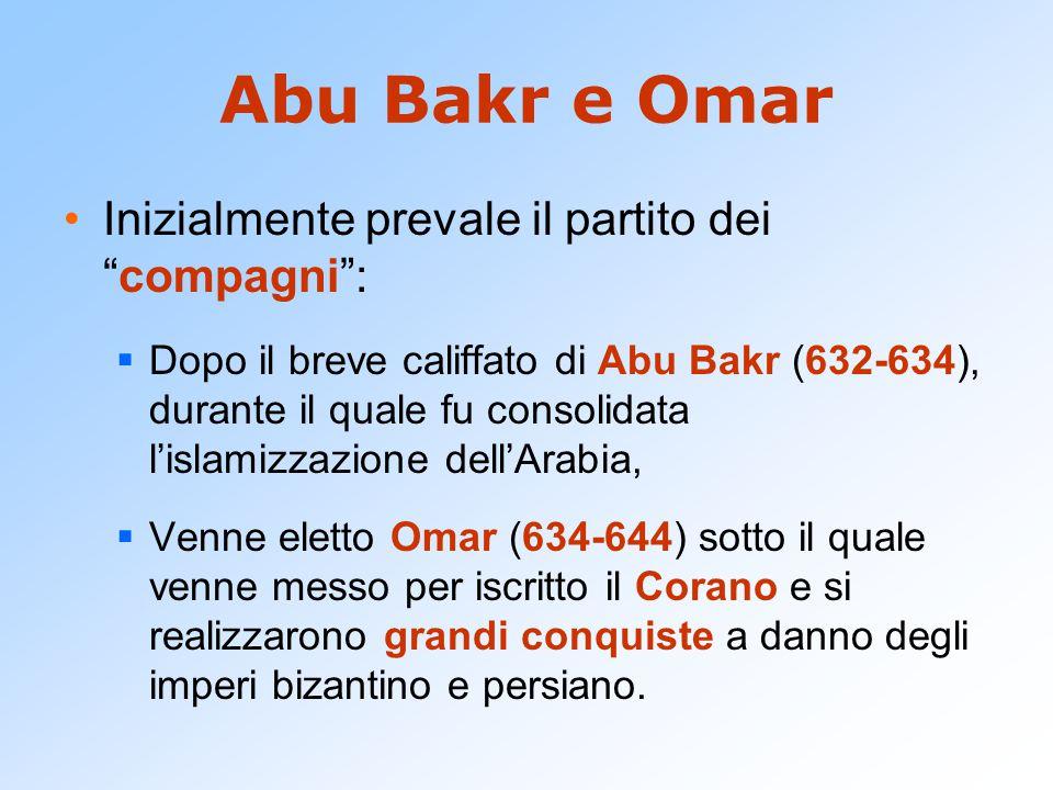 Abu Bakr e Omar Inizialmente prevale il partito dei compagni :