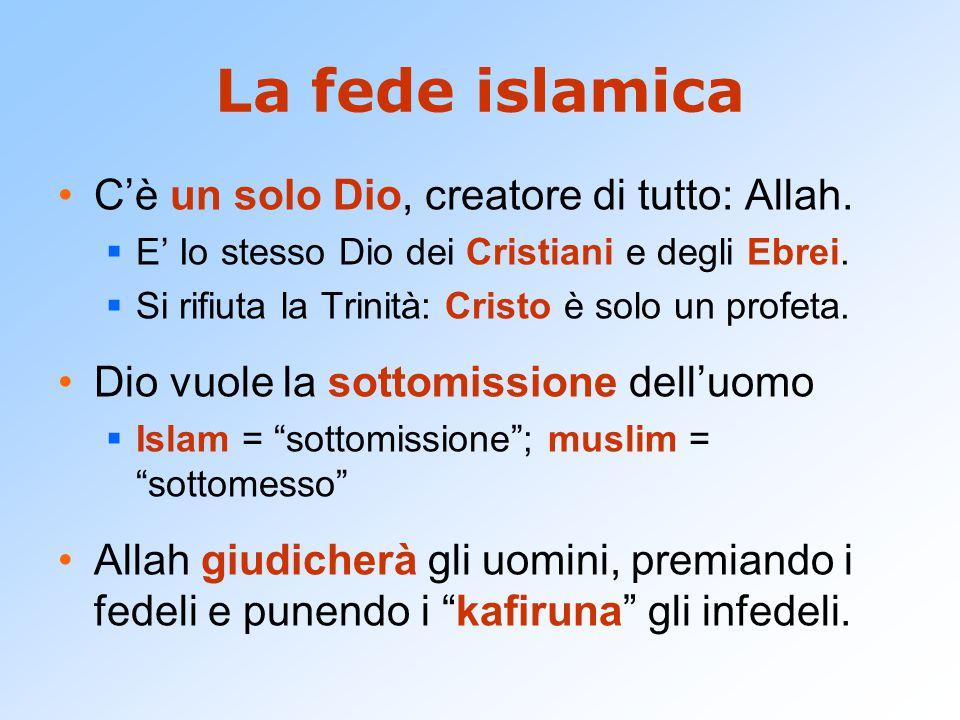 La fede islamica C'è un solo Dio, creatore di tutto: Allah.