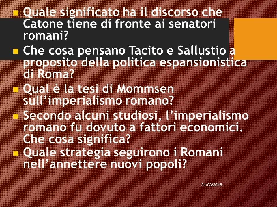 Qual è la tesi di Mommsen sull'imperialismo romano