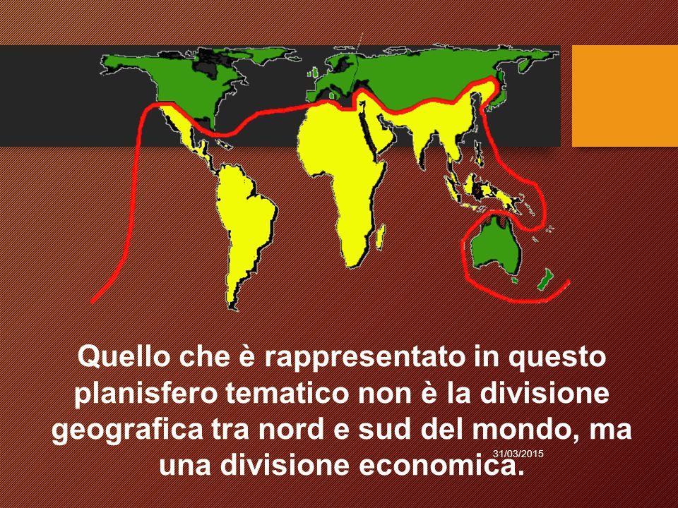 Quello che è rappresentato in questo planisfero tematico non è la divisione geografica tra nord e sud del mondo, ma una divisione economica.