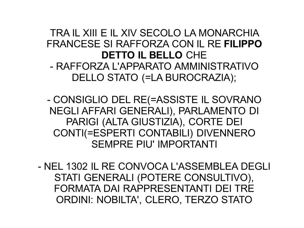 - RAFFORZA L APPARATO AMMINISTRATIVO DELLO STATO (=LA BUROCRAZIA);