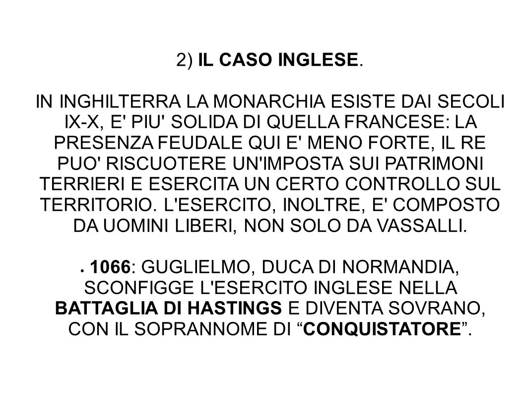 2) IL CASO INGLESE.