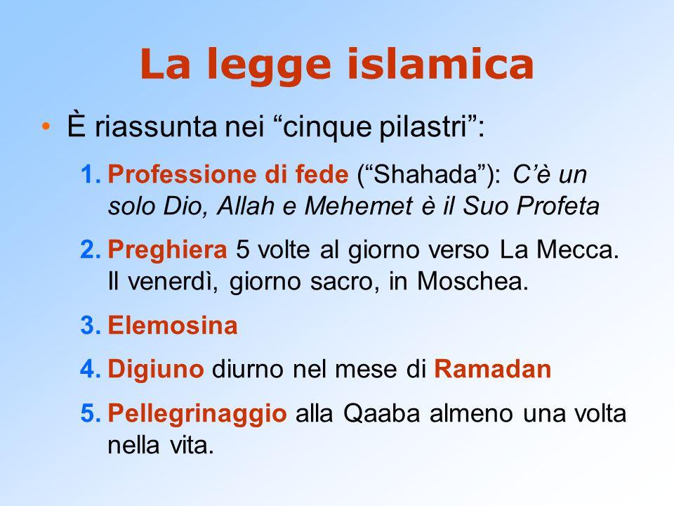 La legge islamica È riassunta nei cinque pilastri :