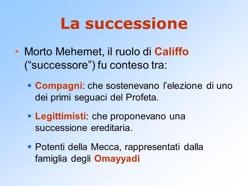 La successione Morto Mehemet, il ruolo di Califfo ( successore ) fu conteso tra: