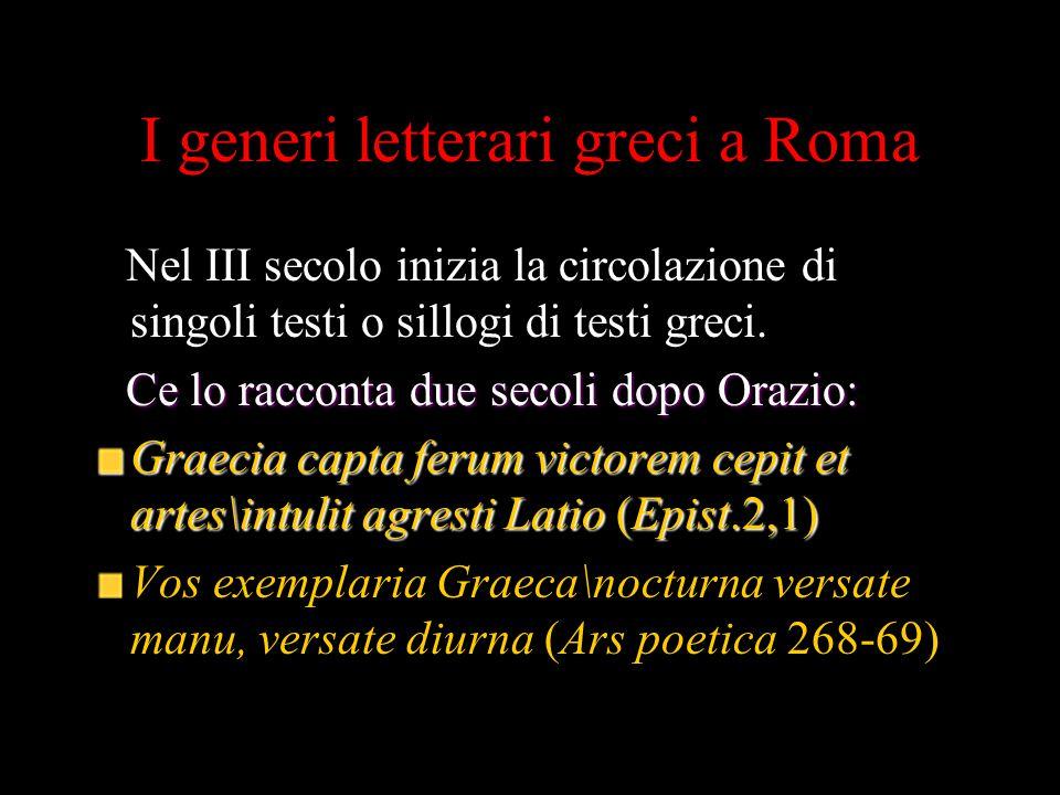 I generi letterari greci a Roma