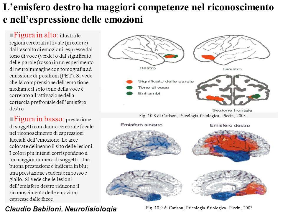 L'emisfero destro ha maggiori competenze nel riconoscimento e nell'espressione delle emozioni