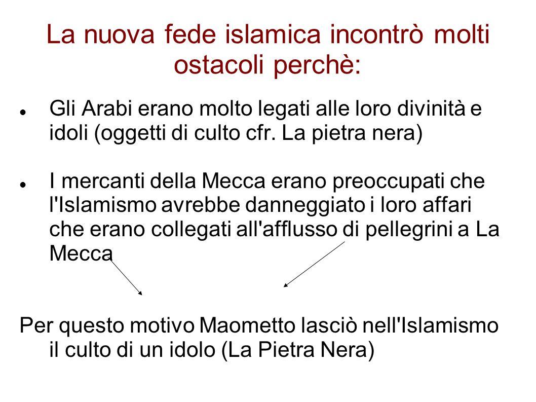 La nuova fede islamica incontrò molti ostacoli perchè:
