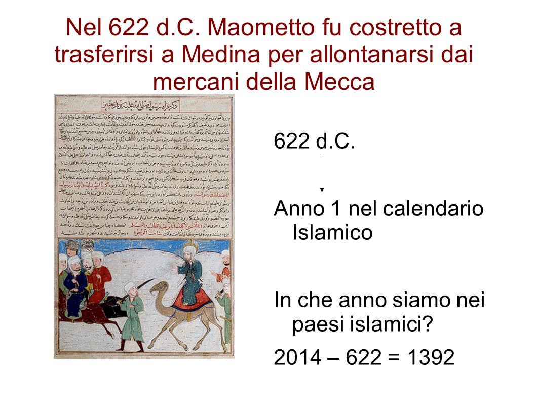 Nel 622 d.C. Maometto fu costretto a trasferirsi a Medina per allontanarsi dai mercani della Mecca