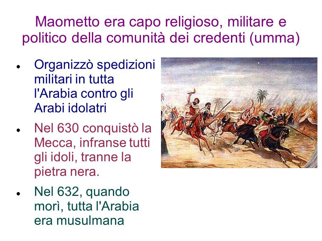 Maometto era capo religioso, militare e politico della comunità dei credenti (umma)