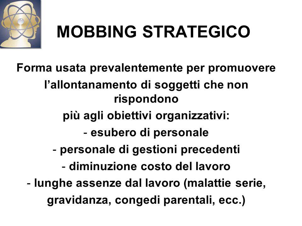 MOBBING STRATEGICO Forma usata prevalentemente per promuovere
