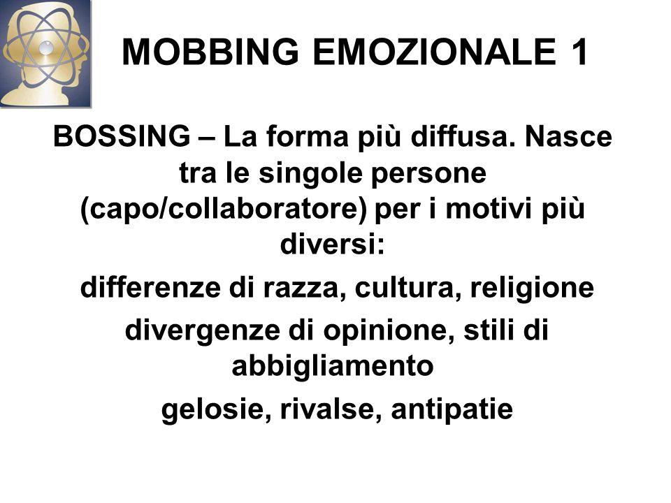 MOBBING EMOZIONALE 1 BOSSING – La forma più diffusa. Nasce tra le singole persone (capo/collaboratore) per i motivi più diversi: