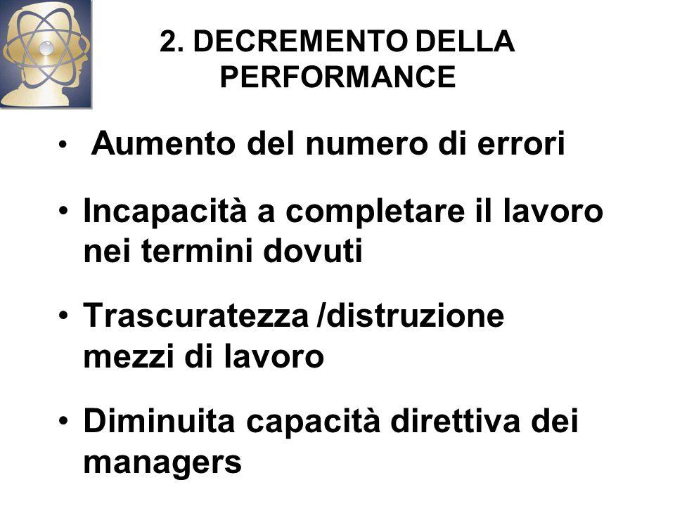 2. DECREMENTO DELLA PERFORMANCE