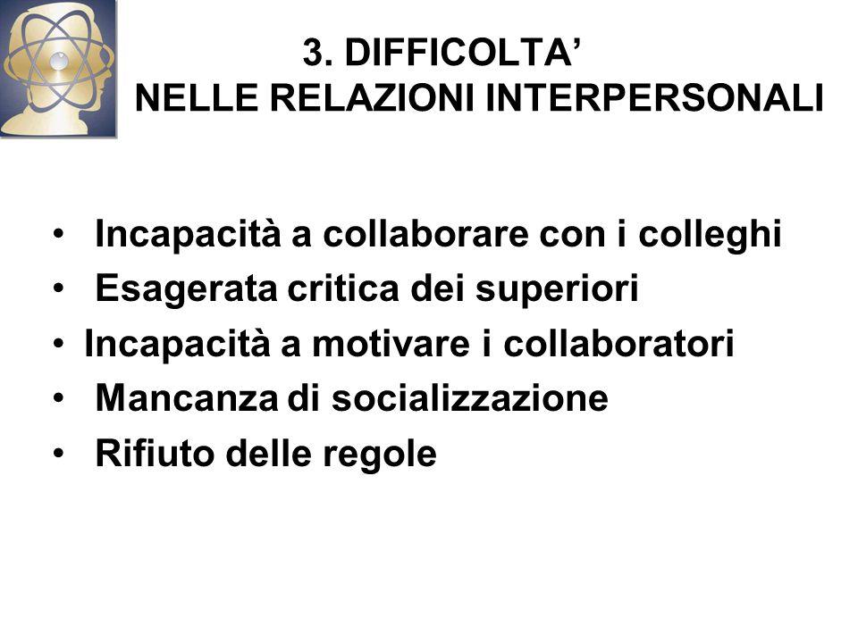 3. DIFFICOLTA' NELLE RELAZIONI INTERPERSONALI