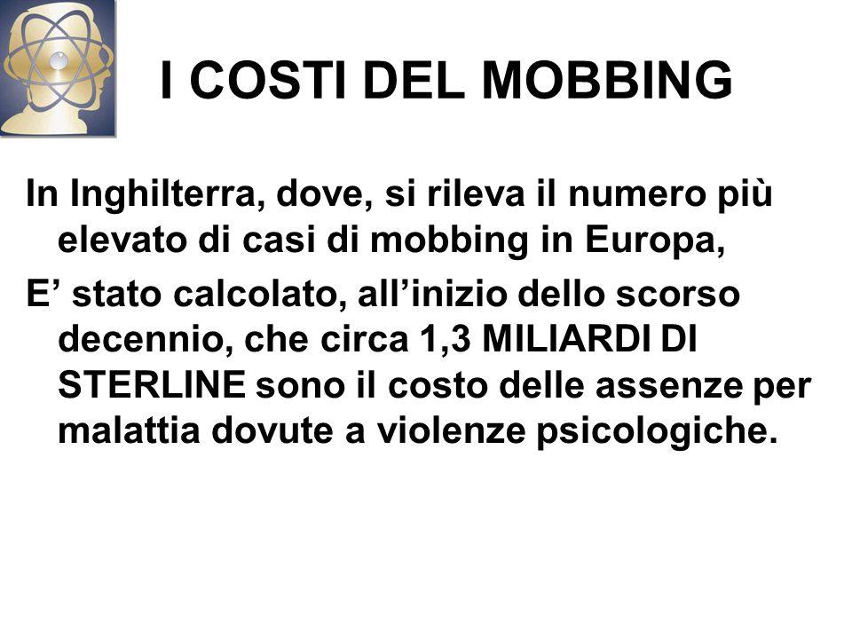 I COSTI DEL MOBBING In Inghilterra, dove, si rileva il numero più elevato di casi di mobbing in Europa,