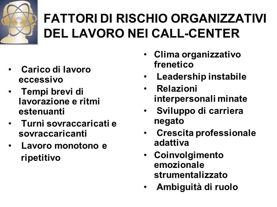 FATTORI DI RISCHIO ORGANIZZATIVI DEL LAVORO NEI CALL-CENTER