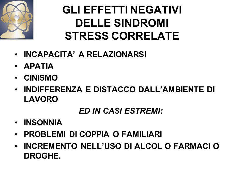 GLI EFFETTI NEGATIVI DELLE SINDROMI STRESS CORRELATE