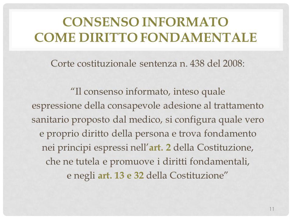 Consenso informato come diritto fondamentale