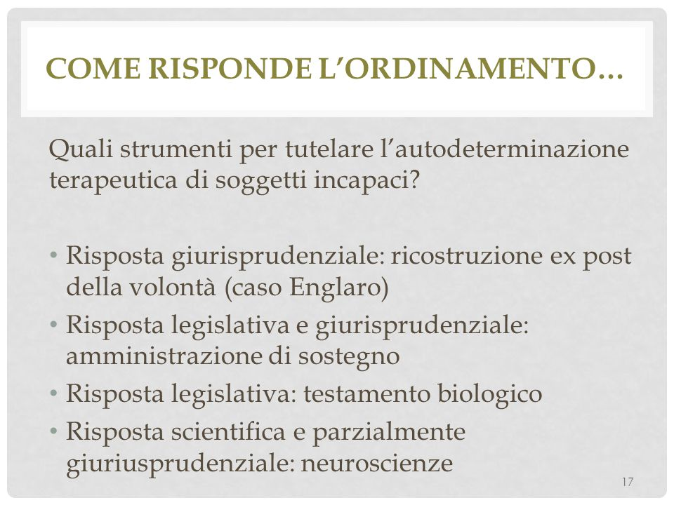 Come risponde l'ordinamento…