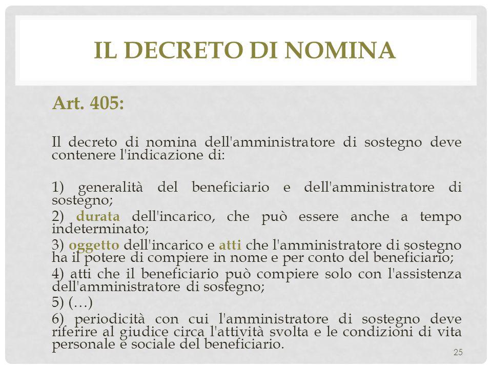 Il decreto di nomina Art. 405: