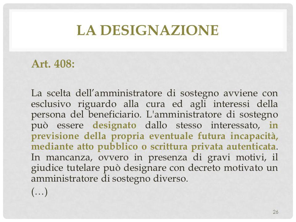La designazione Art. 408: