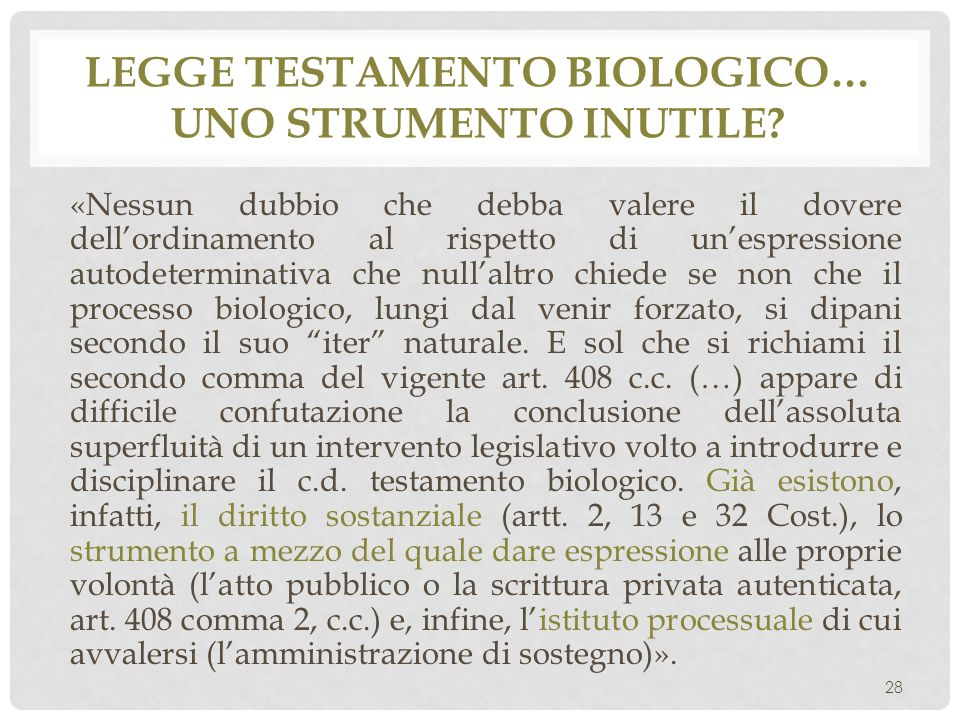 Legge Testamento biologico… uno strumento inutile