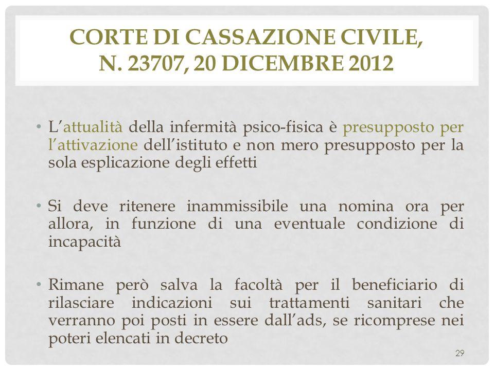Corte di Cassazione civile, n. 23707, 20 dicembre 2012