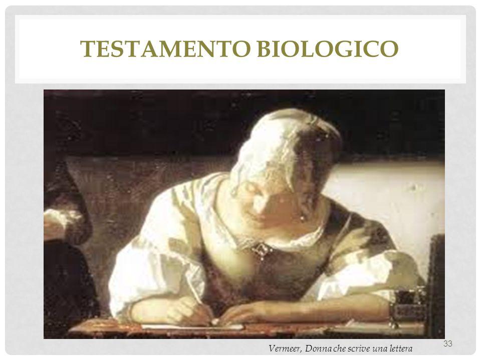 Testamento biologico Vermeer, Donna che scrive una lettera
