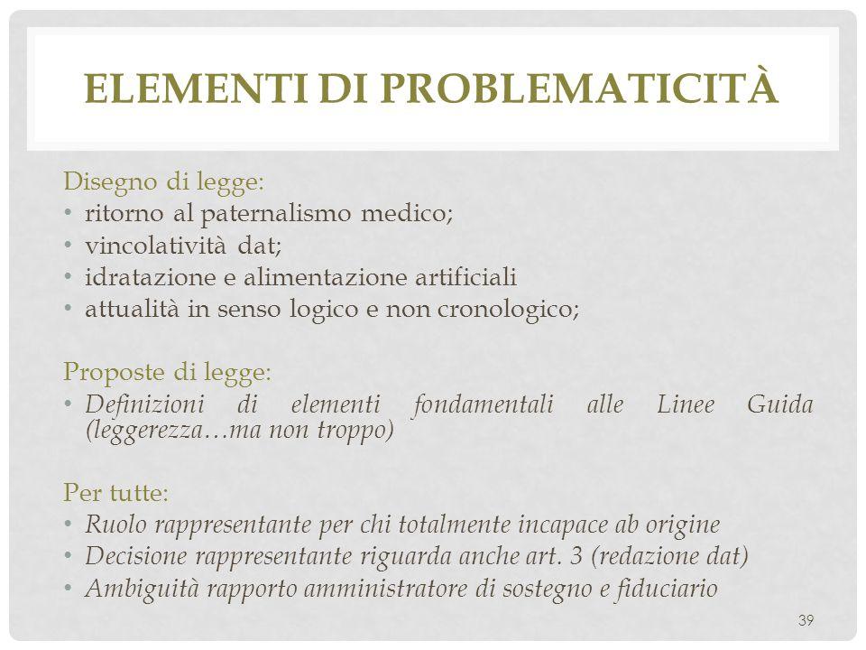 Elementi di problematicità