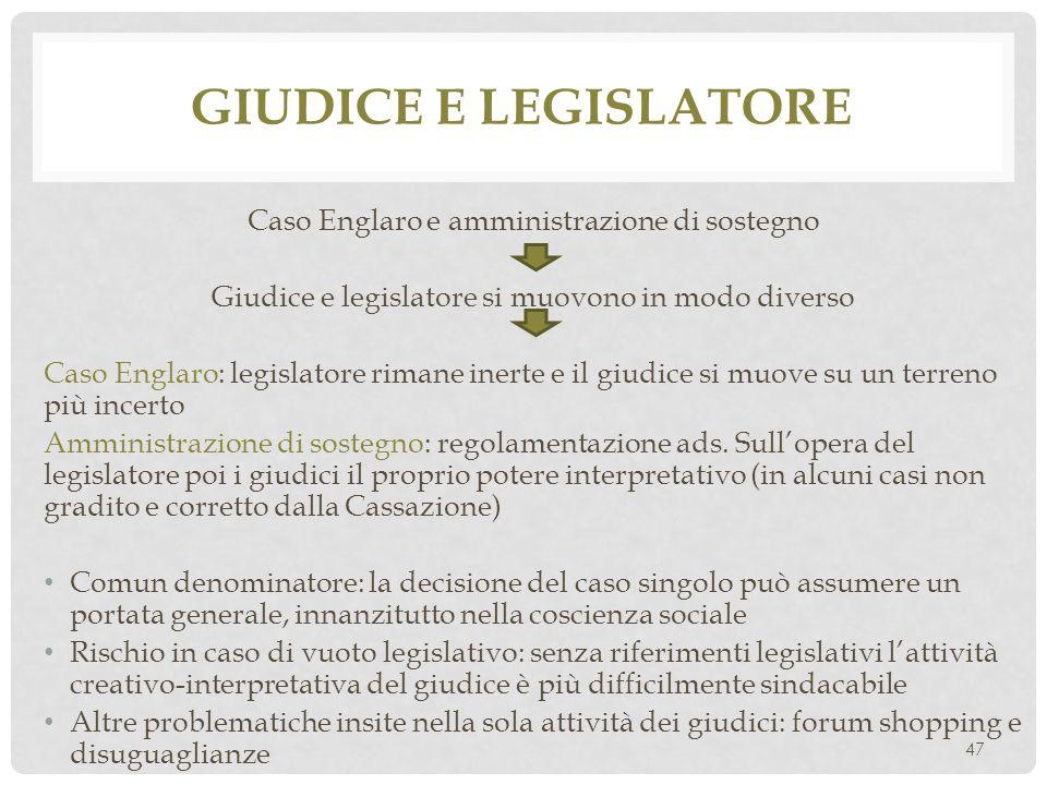 Giudice e legislatore Caso Englaro e amministrazione di sostegno