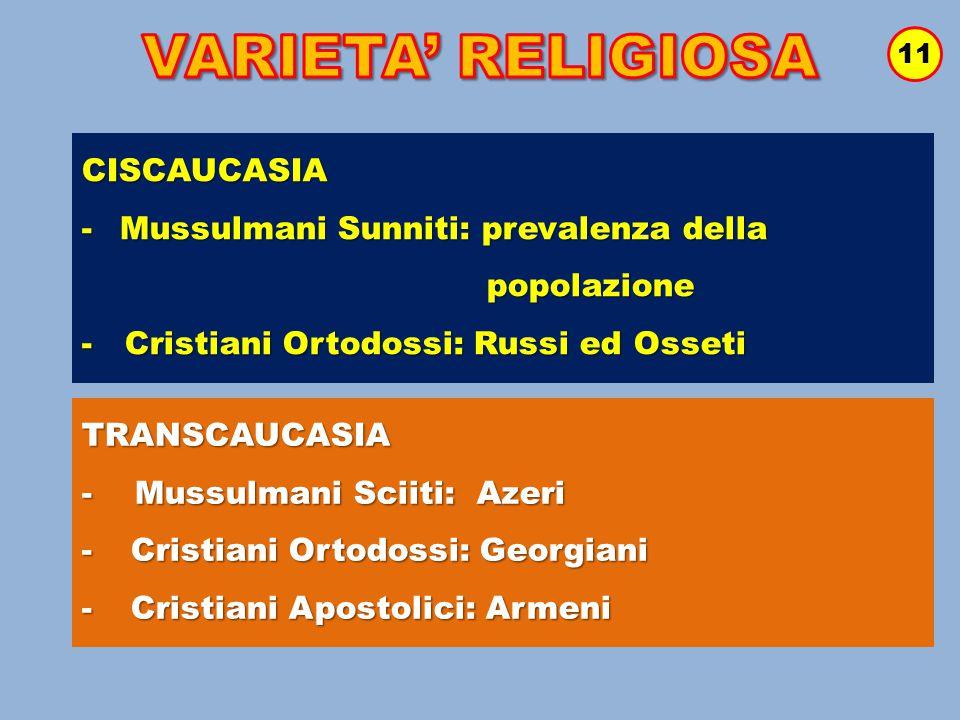 VARIETA' RELIGIOSA CISCAUCASIA Mussulmani Sunniti: prevalenza della