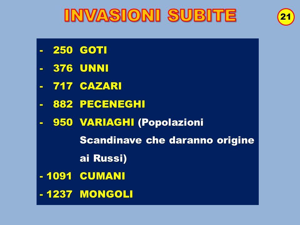 INVASIONI SUBITE - 250 GOTI - 376 UNNI - 717 CAZARI - 882 PECENEGHI