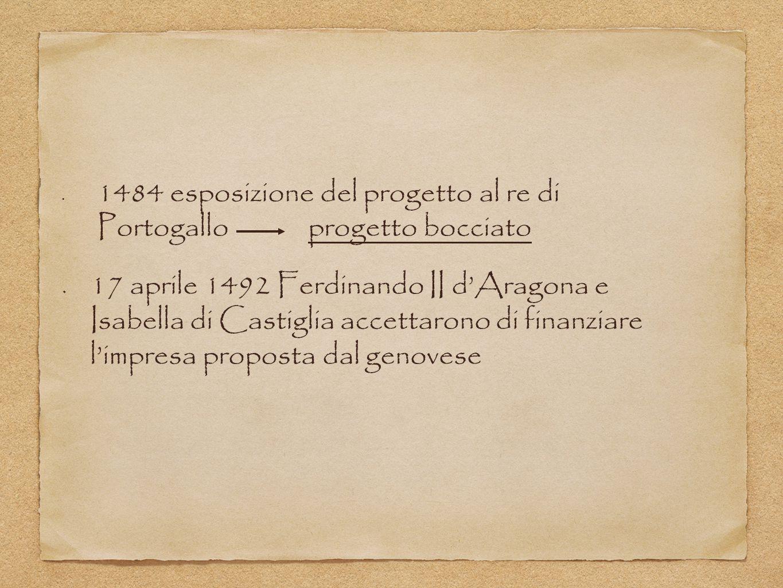 1484 esposizione del progetto al re di Portogallo progetto bocciato