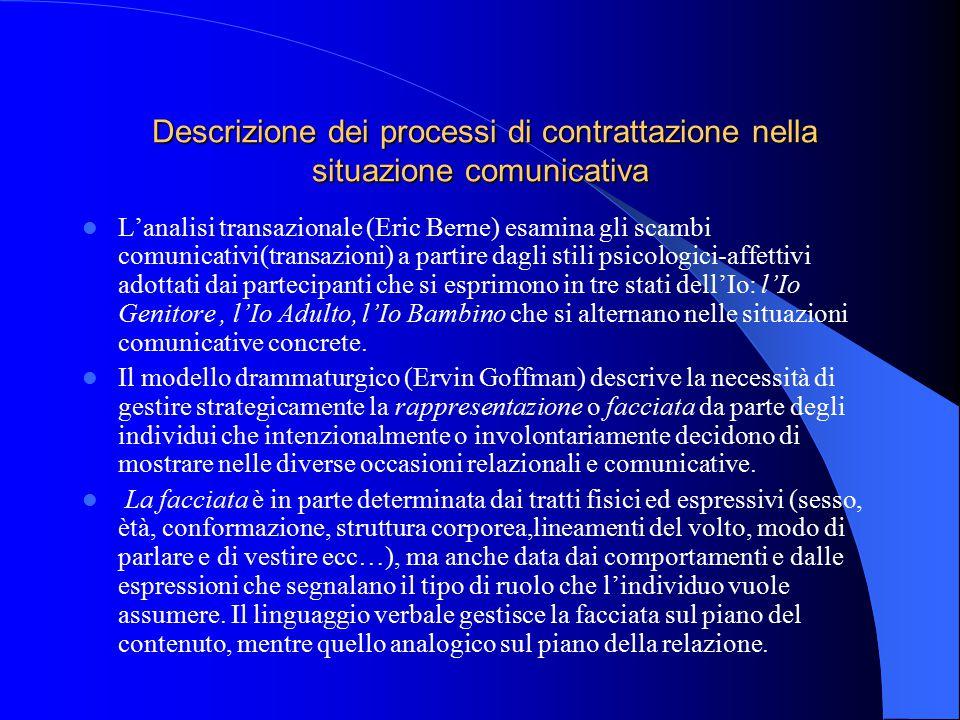 Descrizione dei processi di contrattazione nella situazione comunicativa