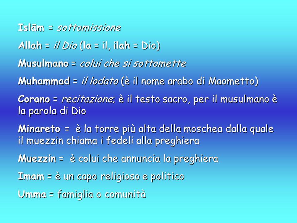 Islām = sottomissione Allah = il Dio (la = il, ilah = Dio) Musulmano = colui che si sottomette. Muhammad = il lodato (è il nome arabo di Maometto)