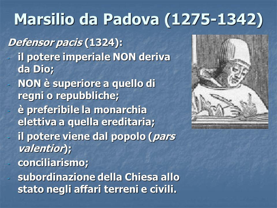 Marsilio da Padova (1275-1342) Defensor pacis (1324):