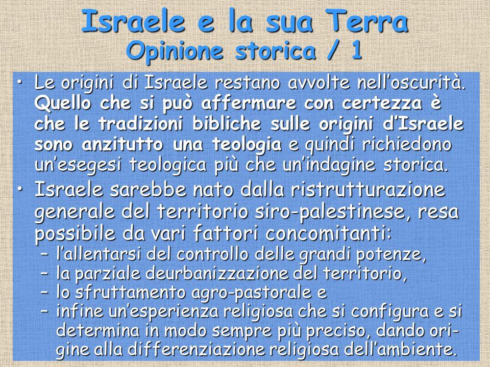 Israele e la sua Terra Opinione storica / 1