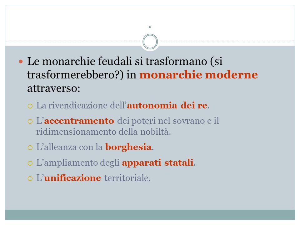 . Le monarchie feudali si trasformano (si trasformerebbero ) in monarchie moderne attraverso: La rivendicazione dell'autonomia dei re.