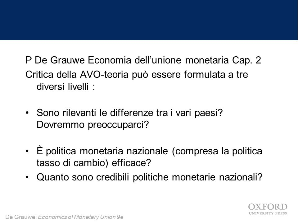 P De Grauwe Economia dell'unione monetaria Cap. 2