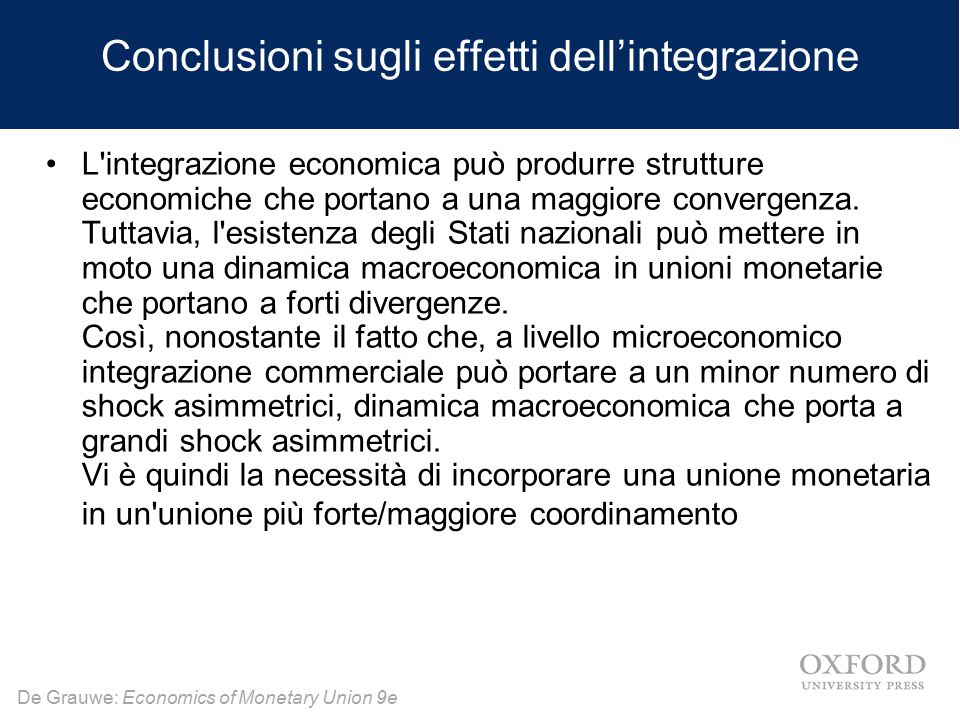 Conclusioni sugli effetti dell'integrazione