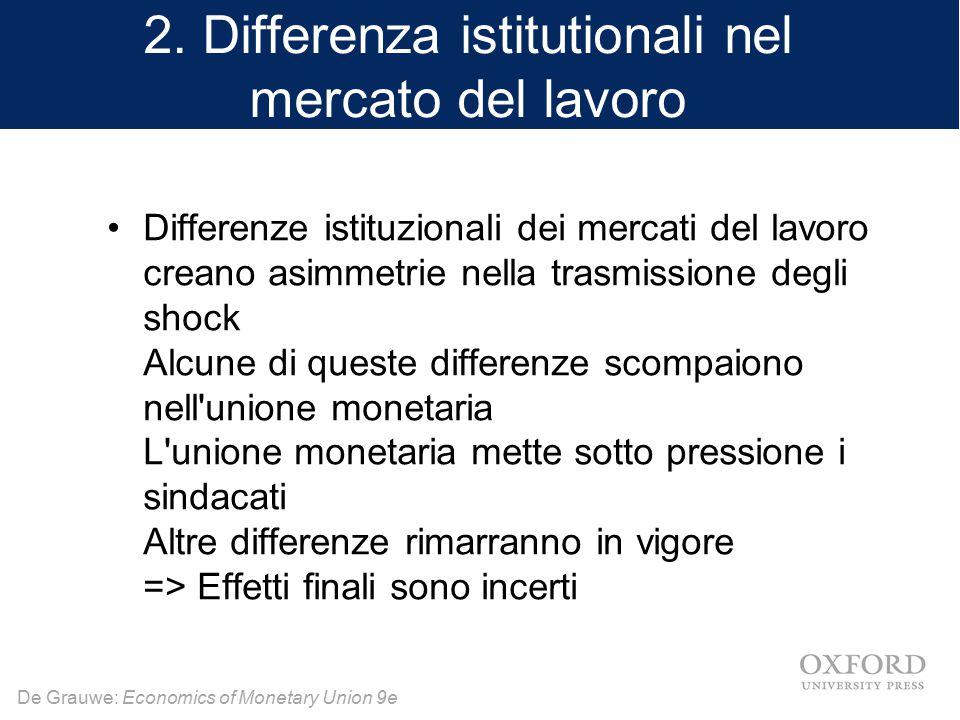 2. Differenza istitutionali nel mercato del lavoro