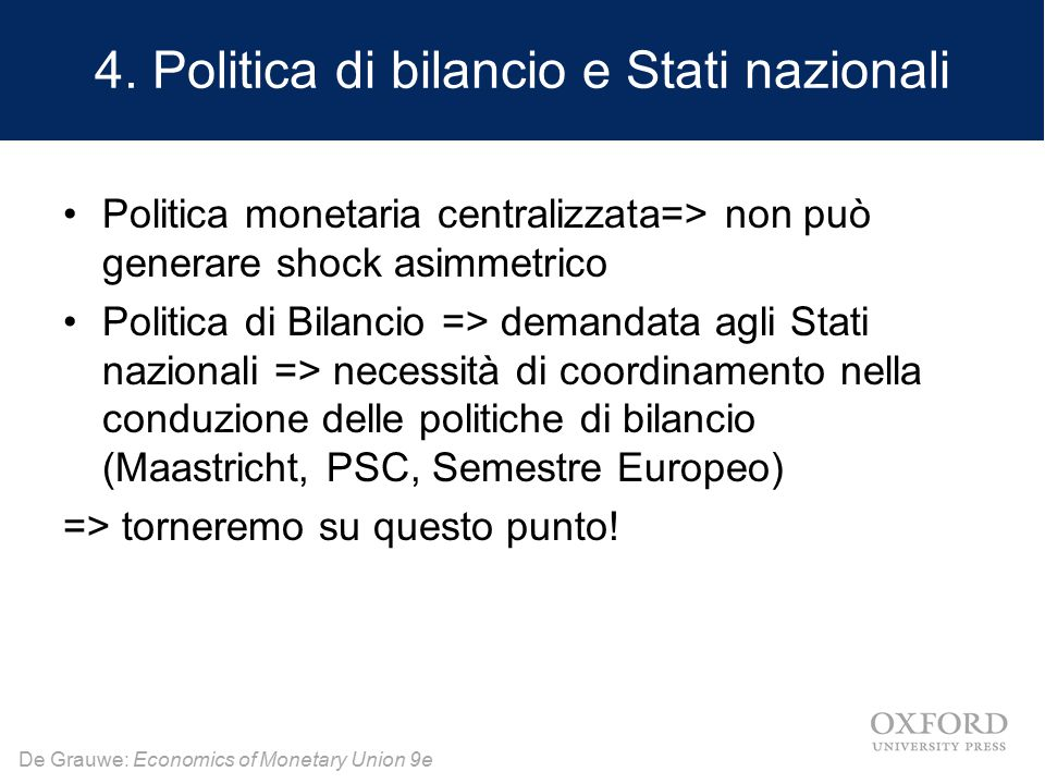 4. Politica di bilancio e Stati nazionali