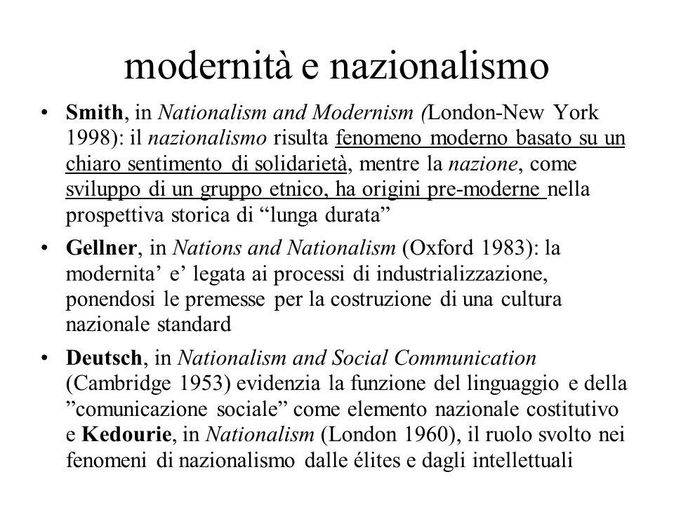 modernità e nazionalismo